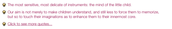 The most sensitive, most delicate of instruments: the mind of the little child.   Our aim is not merely to make children understand, and still less to force them to memorize,